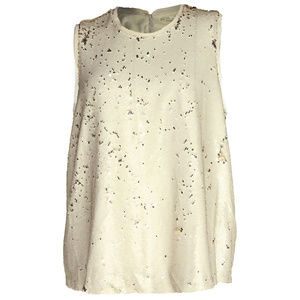 Small Beige Sleeveless Sequined Swing Top NEW